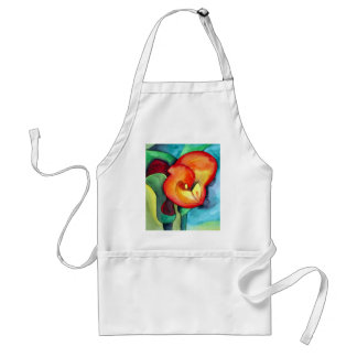 Orange Canna lily original watercolor art Adult Apron