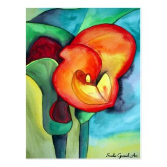 Orange Canna lily original watercolor art Post Card