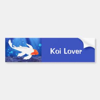 Orange Capped Kohaku Koi in Blue Lagoon Bumper Stickers