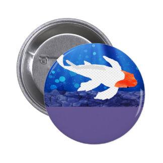 Orange Capped Kohaku Koi in Blue Lagoon Button