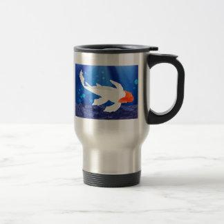 Orange Capped Kohaku Koi in Blue Lagoon Coffee Mug