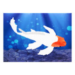 Orange Capped Kohaku Koi in Blue Lagoon Custom Invitation