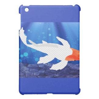 Orange Capped Kohaku Koi in Blue Lagoon iPad Mini Covers