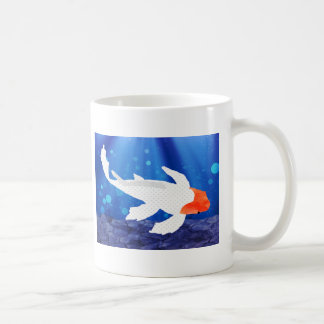 Orange Capped Kohaku Koi in Blue Lagoon Classic White Coffee Mug