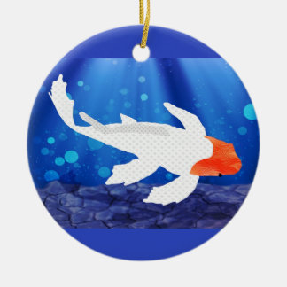 Orange Capped Kohaku Koi in Blue Lagoon Ornament