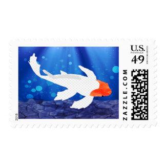 Orange Capped Kohaku Koi in Blue Lagoon Stamp
