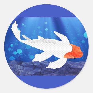 Orange Capped Kohaku Koi in Blue Lagoon Sticker