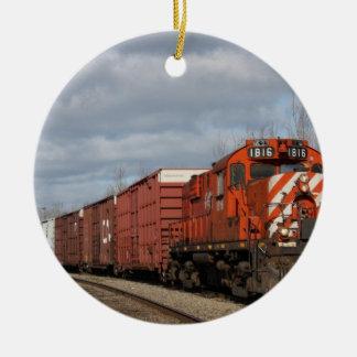 Orange Cargo Train Christmas Ornament