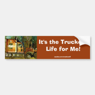 ORANGE CARGO TRUCK BIG RIG TRUCKERS Bumper Sticker