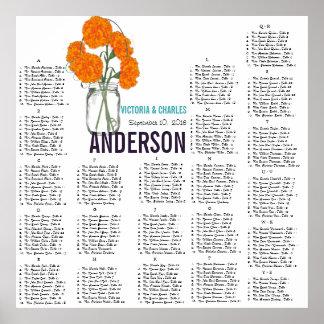 Orange Carnation Modern Mason Jar Seating Chart