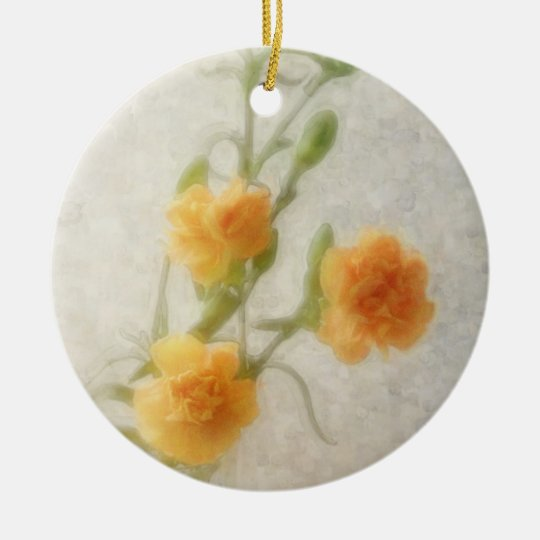 Orange Carnations 1 Ceramic Ornament