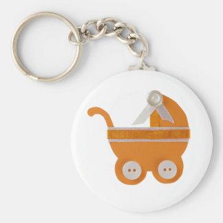 Orange carriage baby shower keychain