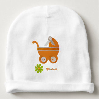 Orange carriage, green flower for baby shower baby beanie