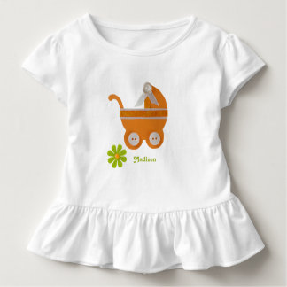 Orange carriage, green flower for baby shower toddler t-shirt