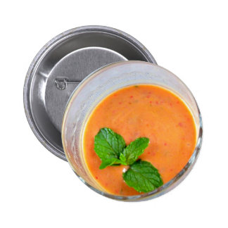 orange carrot smoothie with green peppermint leave 2 inch round button