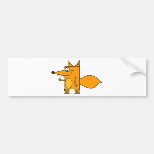 Orange Cartoon Fox Bumper Stickers