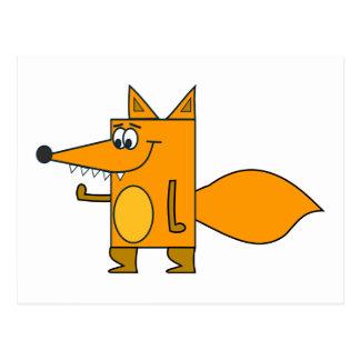 Orange Cartoon Fox Postcard