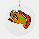 Orange Cartoon Germ Double-Sided Ceramic Round Christmas Ornament