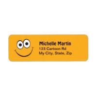 Orange cartoon smiley face return address labels label