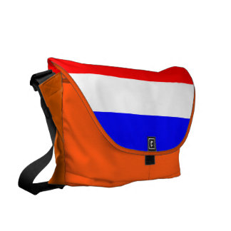 Orange case with rood-wit blue courier bag