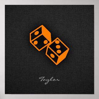 Orange Casino Dice Poster