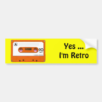 Orange Cassette Tape Bumper Stickers
