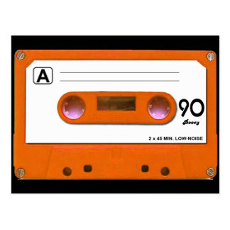 Orange Cassette Tape Postcard