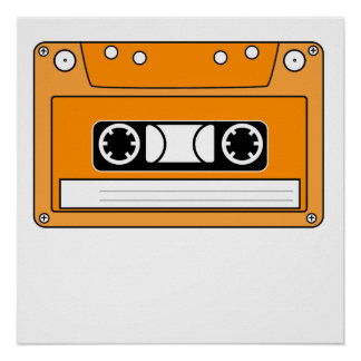 Orange Cassette Tape Poster