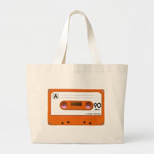 Orange Cassette Tape Tote Bags