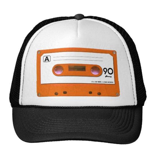 Orange Cassette Tape Trucker Hat