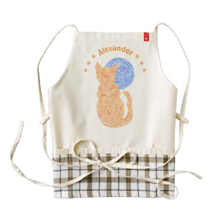 Orange Cat And Moon Cat Lover Follow Your HEART Zazzle HEART Apron