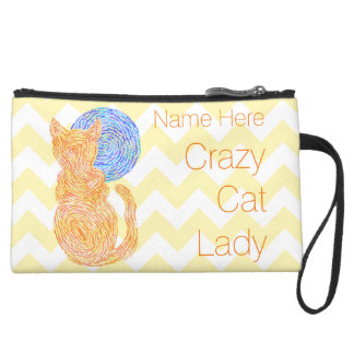 Orange Cat And Moon Personalized Crazy Cat Lady Suede Wristlet
