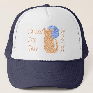 Orange Cat And The Moon Cat Lover Crazy Cat Guy Trucker Hat