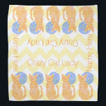 """Orange Cat And The Moon Cat Lover Crazy Cat Lady Bandana<br><div class=""""desc"""">Orange Cat And The Moon Cat Lover Kitten Feline Fun Crazy Cat Lady Chevron Pattern Personalized Bandanna. Background color can be customized. Zen Cat looking at the moon art design in my dots and dashes style. The tiny patterns give a movement to the colors. As any cat lover knows, it&#39;s...</div>"""