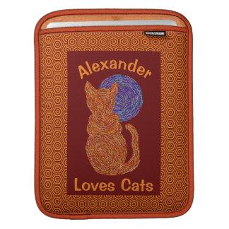 Orange Cat And The Moon Cat Lover Feline Kitten iPad Sleeves