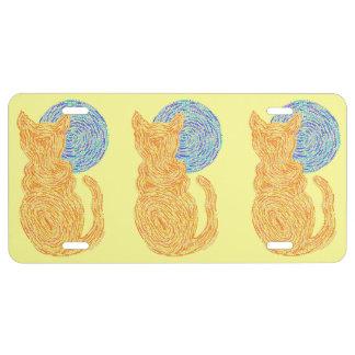 Orange Cat And The Moon Cat Lover Feline Kitten License Plate