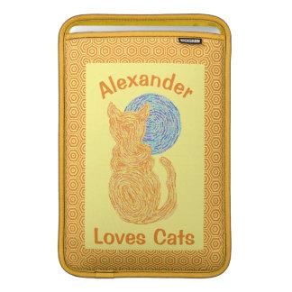 Orange Cat And The Moon Cat Lover Feline Kitten MacBook Sleeve