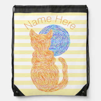 Orange Cat And The Moon Cat Lover Stripes Drawstring Bag