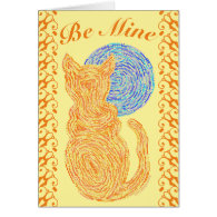 Orange Cat And The Moon Cat Lover Valentine Card