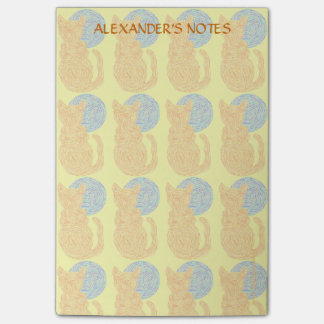 Orange Cat And The Moon Pattern Cat Lover Custom Post-it® Notes