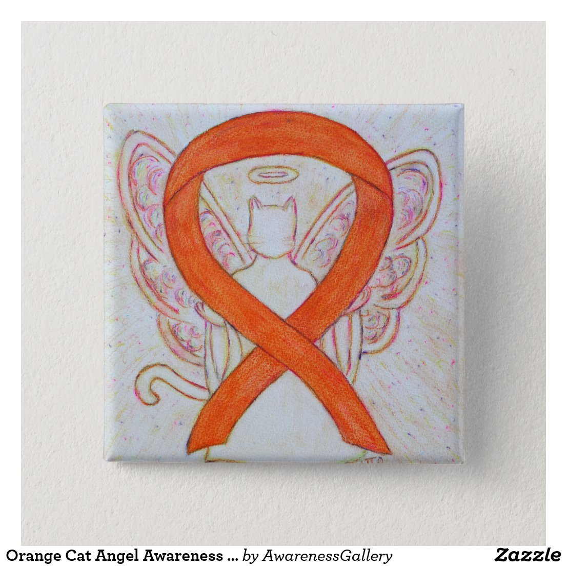 Orange Cat Angel Awareness Ribbon Custom Art Pins