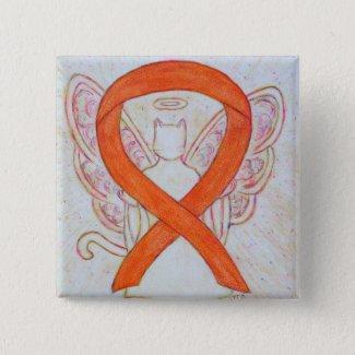 Orange Cat Angel Awareness Ribbon Custom Art Pins