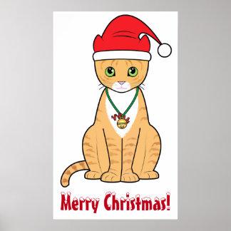 Orange Cat at Christmas with Santa Hat Poster