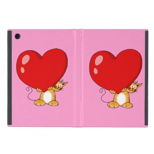 orange cat carrying a big red heart iPad mini cases