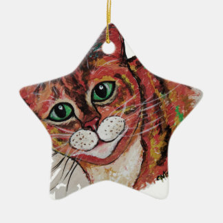 Orange Cat Ceramic Ornament