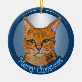Orange Cat Christmas Ornament