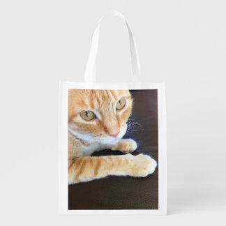 Orange cat closeup market tote