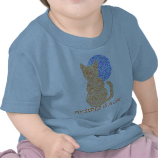 Orange Cat Colorful Cute My Sister Is A Cat Shirt