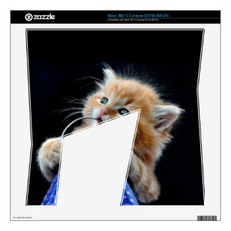 Orange Cat Cub Playing and Biting Blue Decal For The Xbox 360 S
