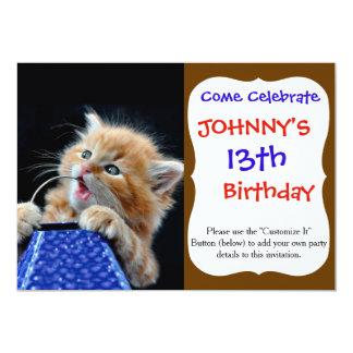 Orange Cat Cub Playing and Biting Blue 5x7 Paper Invitation Card